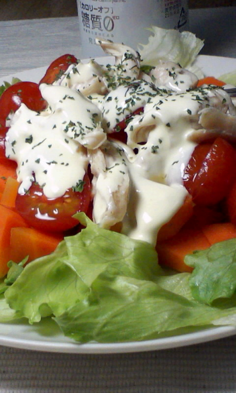 ダイエット競争第15日の夕ご飯、鶏ささ身のサラダ
