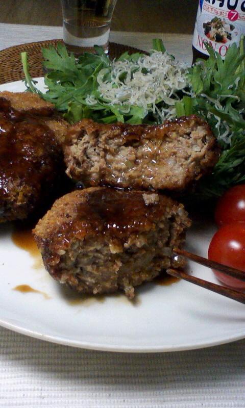 ダイエット競争第25日の夕ご飯、メンチカツ