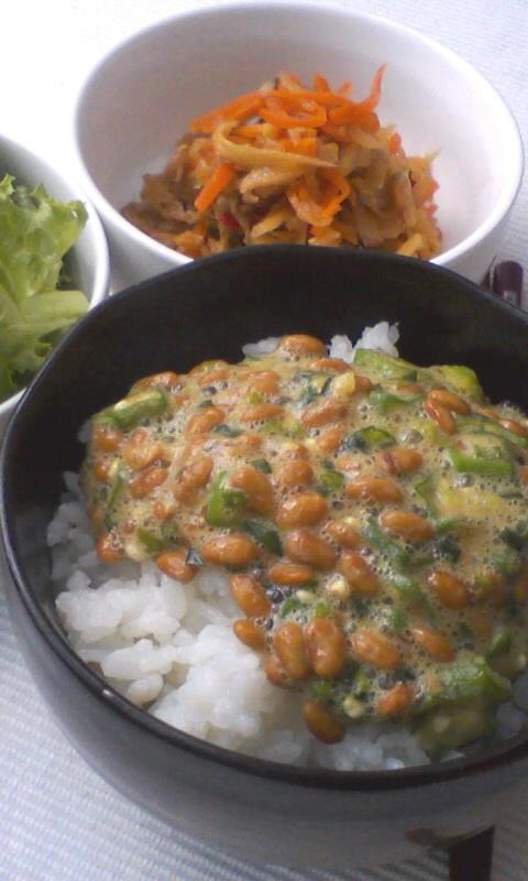 オクラ納豆ご飯