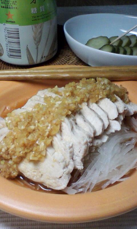 茹で鶏と千切り大根の香味だれ掛け