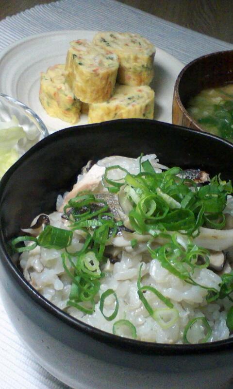 秋刀魚と舞茸の混ぜご飯